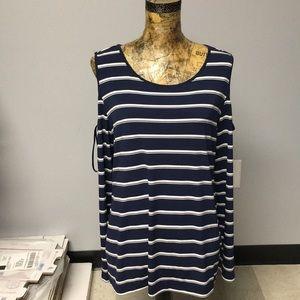 Calvin Klein navy striped long sleeve top
